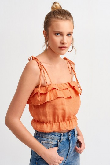 Strappy Crop Top Ruffled Overlay